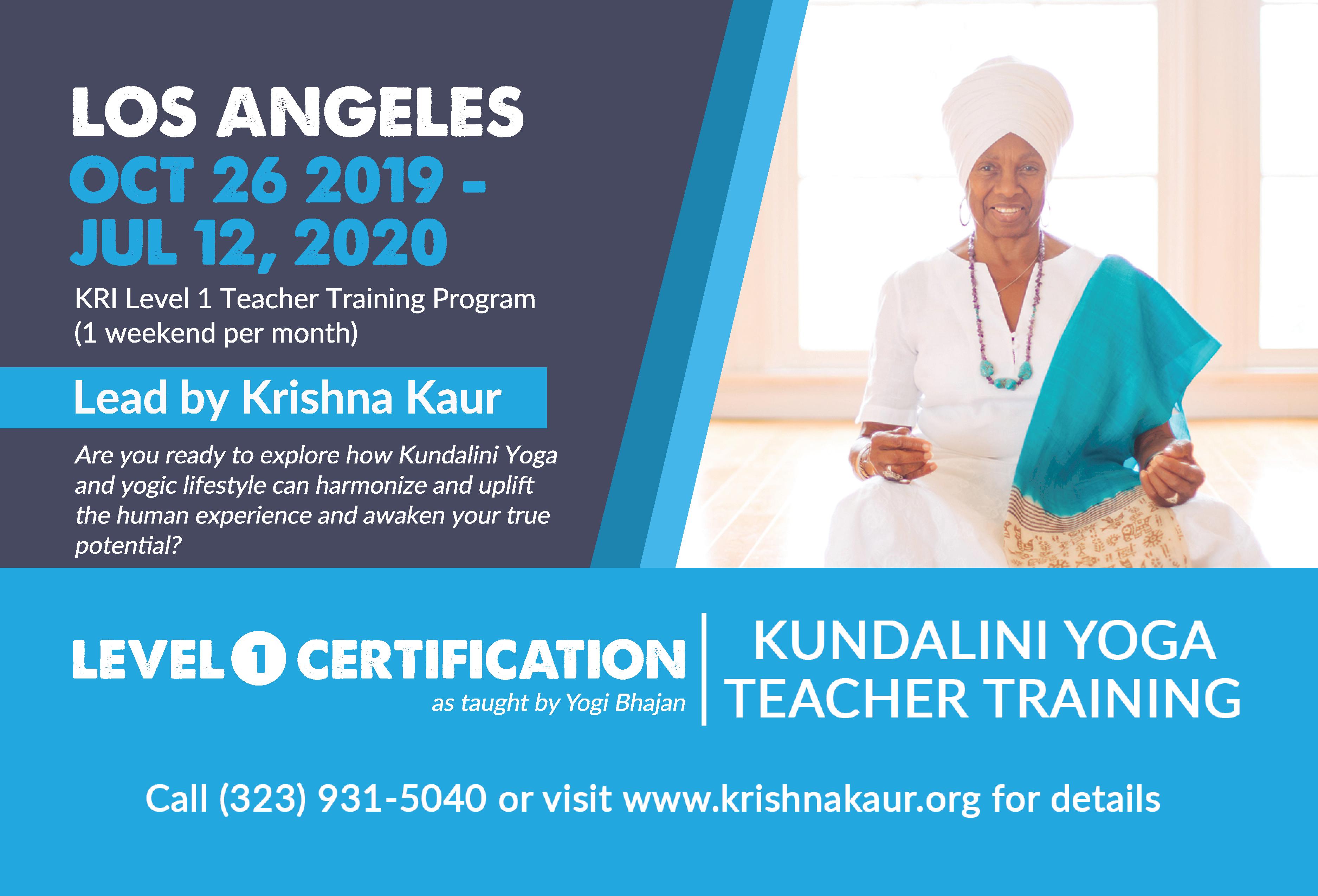 Level 1 Kri Kundalini Yoga Teacher Training Krishna Kaur